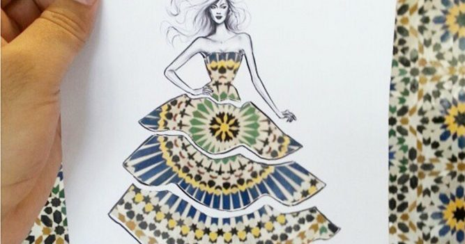 Fashion illustrator uses picturesque landscapes to complete his designs