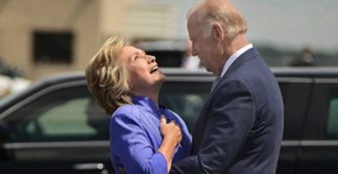Joe Biden's long and awkward hug with Hillary Clinton is going viral