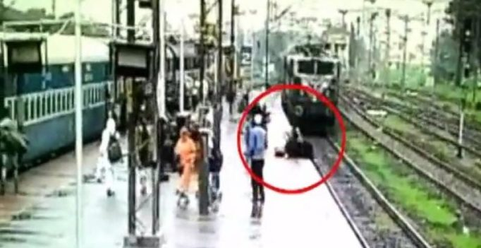 Video: Woman narrowly escapes death while crossing railway track in Gujarat
