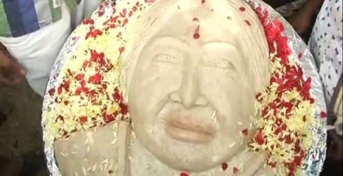 Chennai: Jayalalithaa's fans create 68 kg idli engraved with her face