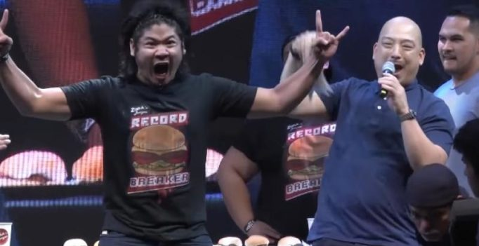 Filipino man sets Guinness record for most hamburgers eaten in one minute