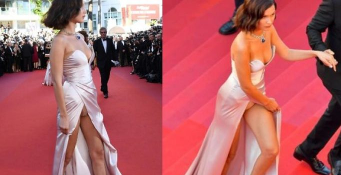 Once again, Bella Hadid suffers wardrobe malfunction at Cannes
