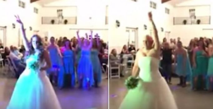 Video: Courageous bride suffering from cancer throws off wig during wedding