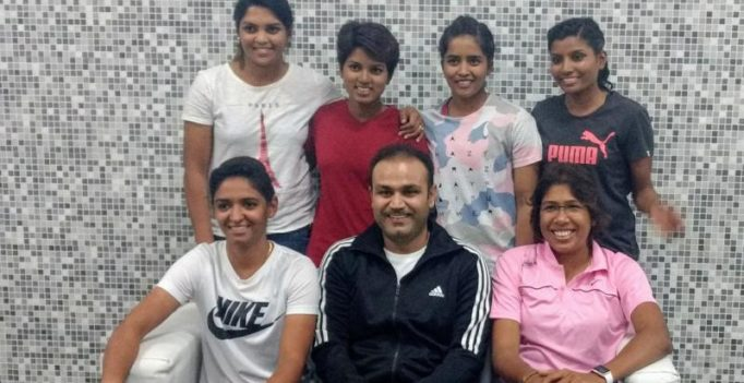 Virender Sehwag hosts India's ICC Women's World Cup stars; shares photo on Twitter