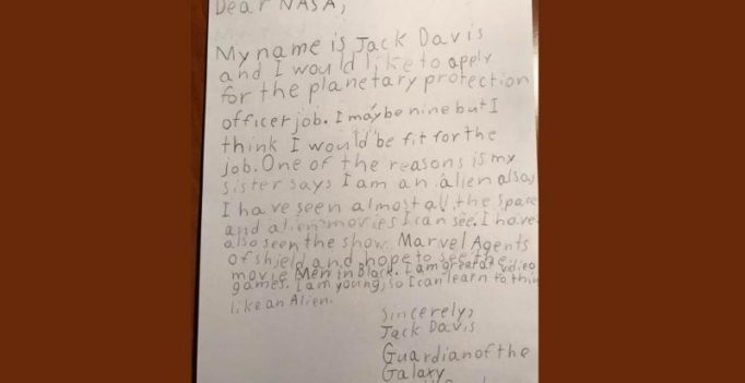 Guardian of the Galaxy: Little boy writes adorable job letter to NASA