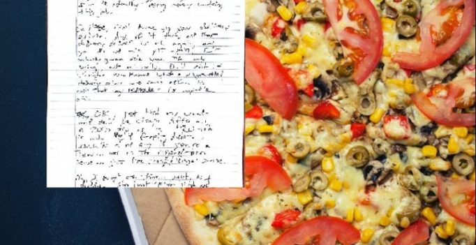 Girl receives creepy note from pizza delivery guy for not tipping