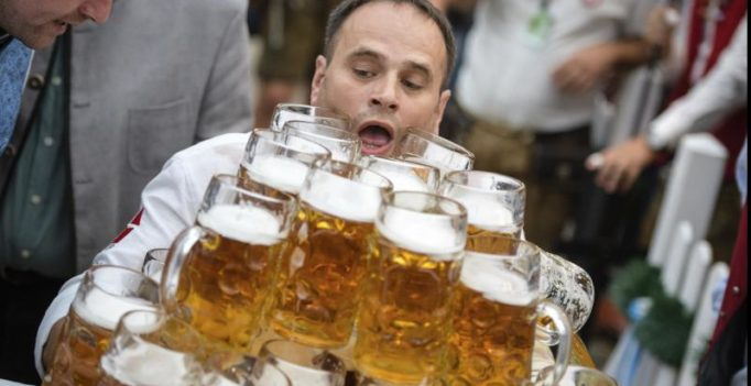 German barman smashes world record, carries 27 litre steins of beer for 131 feet