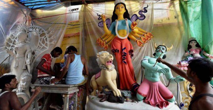 100-ft tall bamboo Durga idol topples in Guwahati storm