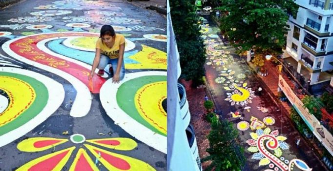Durga Puja 2017: 400 Bengalis create longest street rangoli in Kolkata