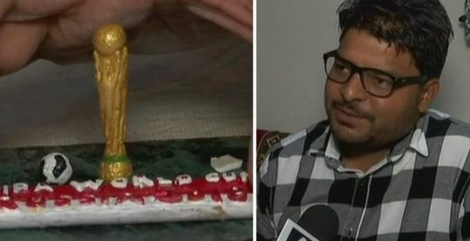 FIFA fan carves miniature World Cup trophy on chalk