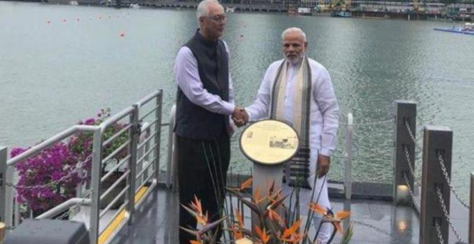 PM Modi unveils Mahatma Gandhi's plaque in Singapore