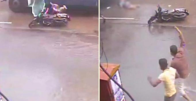 On CCTV, woman falls off bike, crushed under speeding bus in Mumbai rains