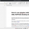 How to use plugins (add-ons) in ONLYOFFICE Desktop Editors