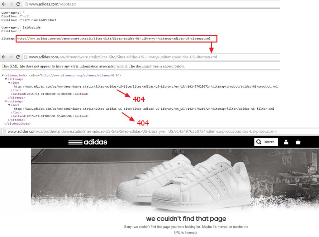 adidas-broken-sitemaps
