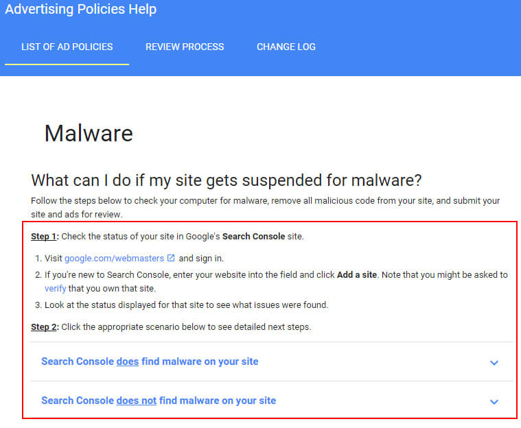 malware-adwords-policy-gsc