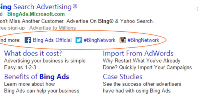 Bing Ads testing Social Extensions: Link search ads to Facebook, Twitter, Instagram, Tumblr