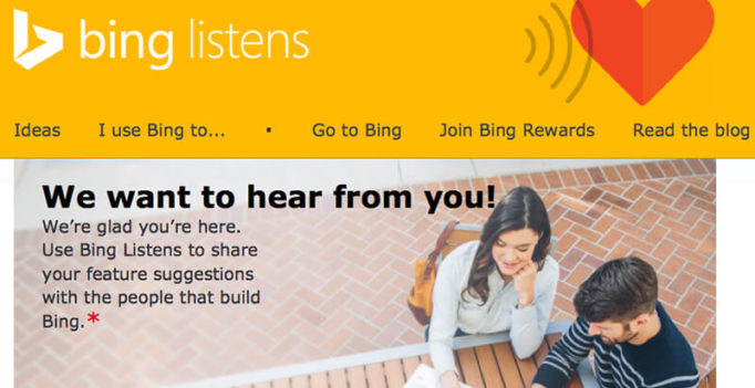 Bing Listens: New Site Serves As A Suggestion Box For Bing Users