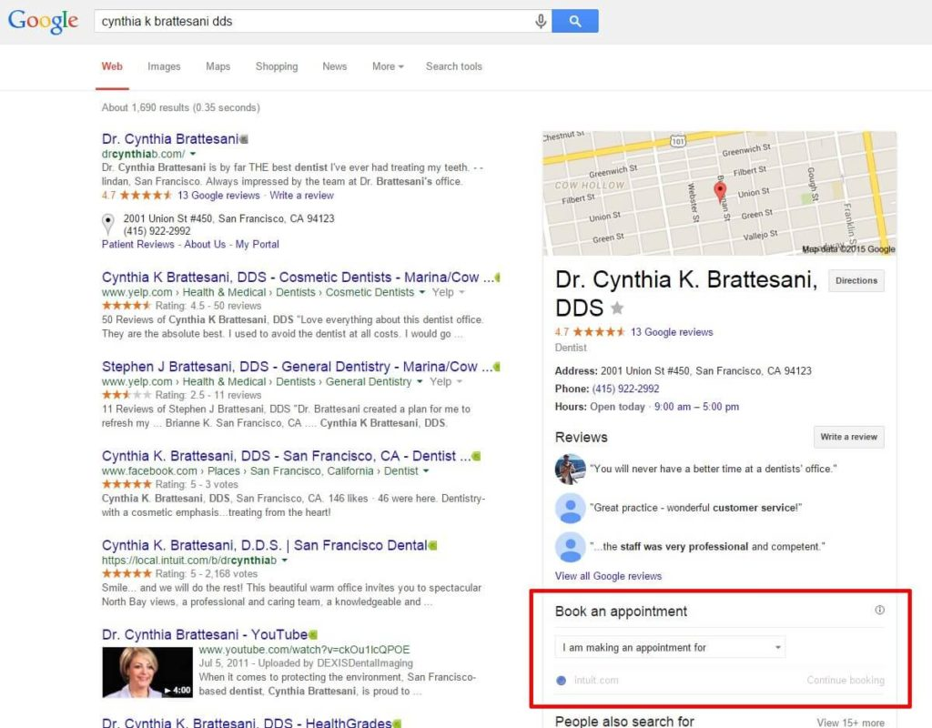 google-search-book-an-appointment-cynthia-k-brattesani-dds